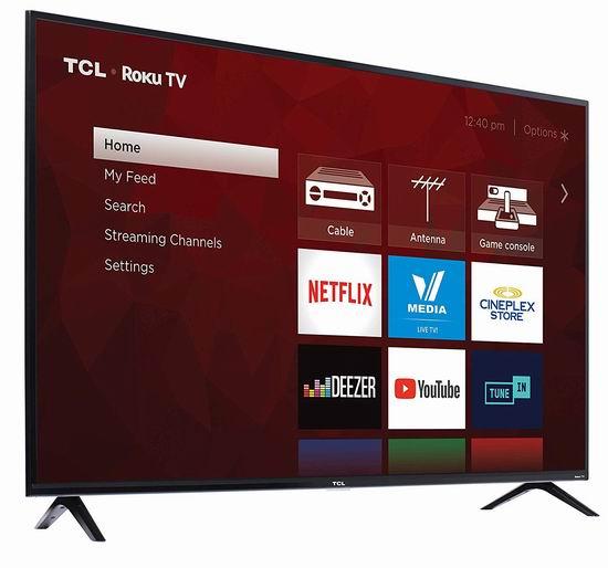 历史最低价!TCL 65S425-CA 65英寸 4K超高清智能电视 599.99加元包邮!