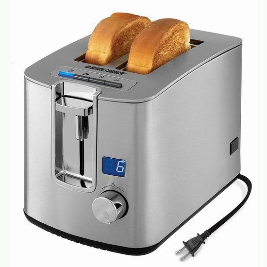 金盒头条:BLACK+DECKER TR1280SD 数字计时 不锈钢2片烤面包机 37.46加元包邮!