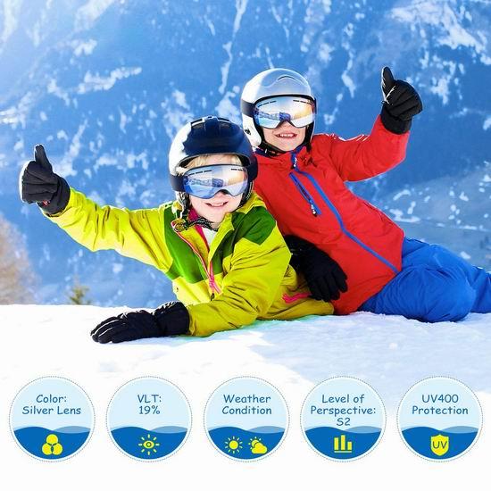 历史新低!TOPELEK 成人儿童 防紫外线 防雾 滑雪护目镜 22.99-25.99加元!3款可选!