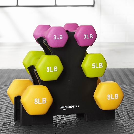 AmazonBasics 32磅健身哑铃6件套+支座超值装 58.79加元包邮!