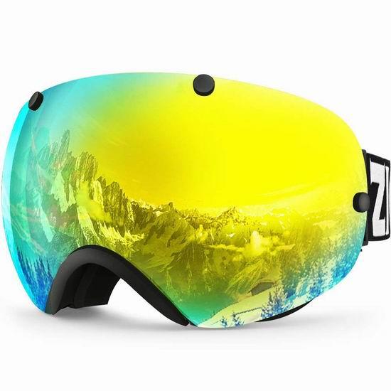 ZIONOR XA Ski 青少年/成人 防紫外线 防雾 滑雪护目镜5.1折 29.99加元限量特卖并包邮!2色可选!