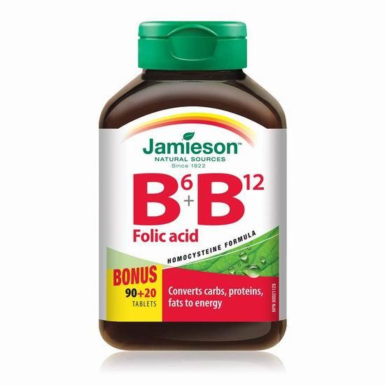 Jamieson 健美生 B6+B12+叶酸复合片 110粒超值装 10.47加元