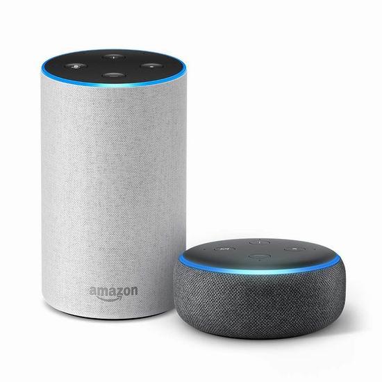 历史新低!Echo 亚马逊第二代智能家居语音机器人 + Echo Dot 亚马逊第三代语音机器人6.8折 129.99加元包邮!多款搭配可选!