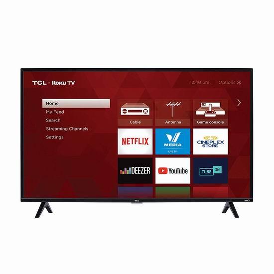 历史最低价!TCL 40S325-CA 1080P 40英寸 全高清智能电视 249.99加元包邮!