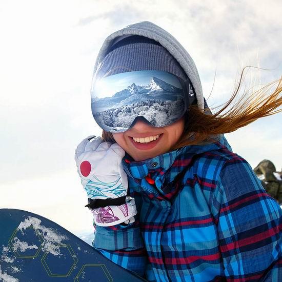白菜价!ENKEEO 成人儿童 防紫外线 防雾 滑雪护目镜3.1折 17.99加元清仓!