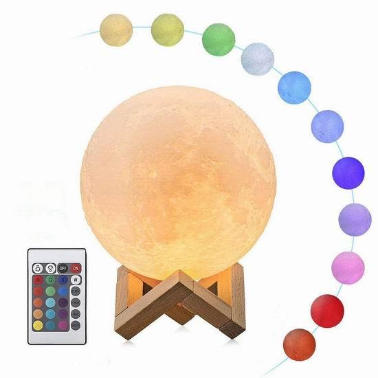 历史新低!ALOVECO 4.72英寸 可调光 LED 3D打印 创意月球灯 19.92加元包邮!免税!