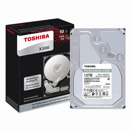 金盒头条:历史新低!Toshiba 东芝 X300 7200RPM 10TB 高性能台式机硬盘 345.99加元包邮!