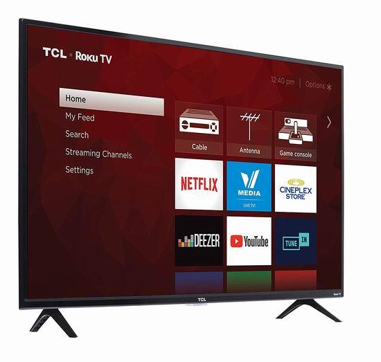 TCL 43S425-CA 43英寸 4K超高清智能电视 299.99加元包邮!