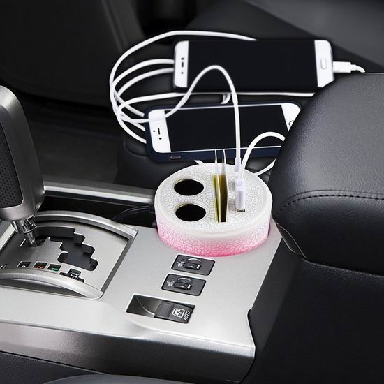 白菜速抢!GOGO ROADLESS 3.1A 双USB车载充电器 + 一拖二点烟器扩展 + 梦幻呼吸灯1.6折 5.99加元清仓!