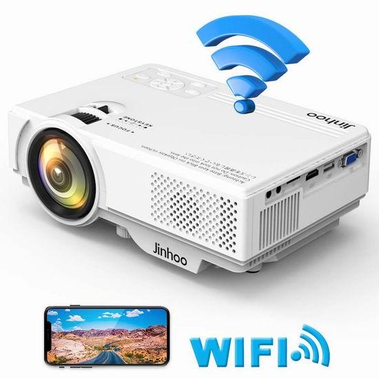 Jinhoo 4200流明 WiFi无线 LED家庭影院投影仪 124.09加元包邮!