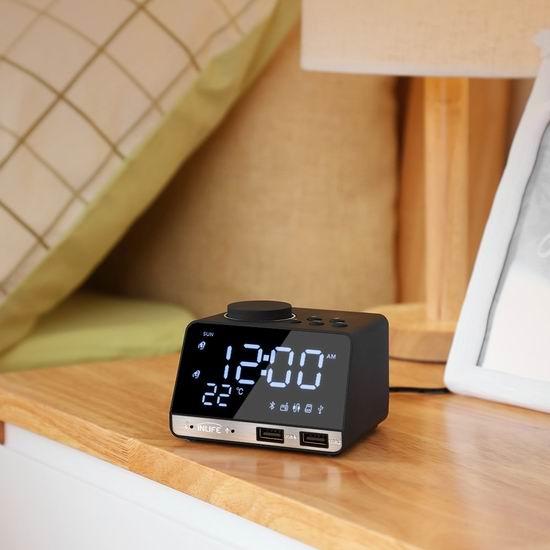 INLIFE 多功能铝合金LED镜面 蓝牙无线音箱/闹钟/温度计/mp3播放器 33.54加元限量特卖并包邮!