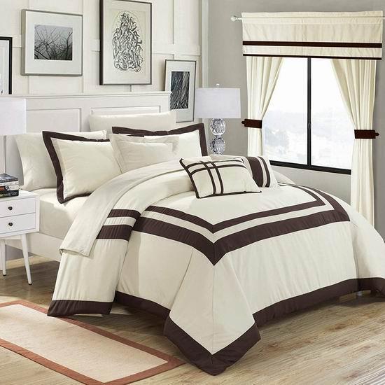 白菜速抢!Chic Home Ritz 时尚King被子+窗帘20件套2折 66.52加元包邮!