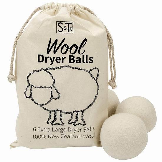 S&T 559701 衣物烘干 加大号新西兰纯天然羊毛球6件套 17.24加元!烘衣省电神器!