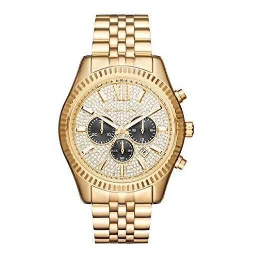 Michael Kors MK8494 Lexington 三眼计时 水晶表盘 金色时尚腕表/手表4折 188.36加元包邮!