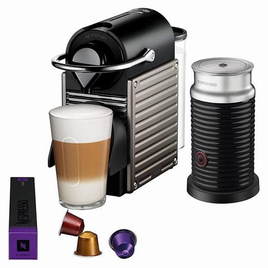 双11独家:最后一天!Nespresso Pixie 胶囊咖啡机 及 咖啡机+打奶机套装4.2折 84.99加元起!2色可选!