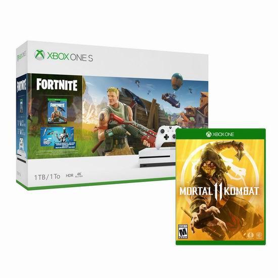 新品预售大促!Xbox One S 1TB 家庭娱乐游戏机+《Fortnite 堡垒之夜》+《Mortal Kombat 11 真人快打11》游戏套装6.5折 299.96加元包邮!