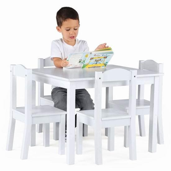 历史新低!Tot Tutors 白色儿童桌椅5件套4.4折 121.97加元包邮!