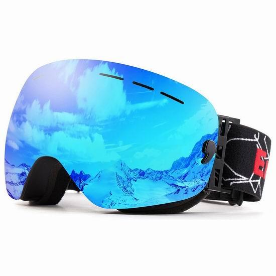 EnergeticSky 成人儿童 防紫外线 防雾 滑雪护目镜4.3折 22.99加元清仓!可同时佩戴近视眼镜!