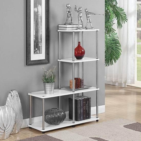 历史新低!Convenience Concepts 151077W Designs2Go 白色3层书架/展示架 69.4加元包邮!