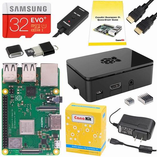 CanaKit Raspberry Pi 3 树莓派3 B+主机板 + SD卡 + 电源 入门套件 78.99加元包邮!