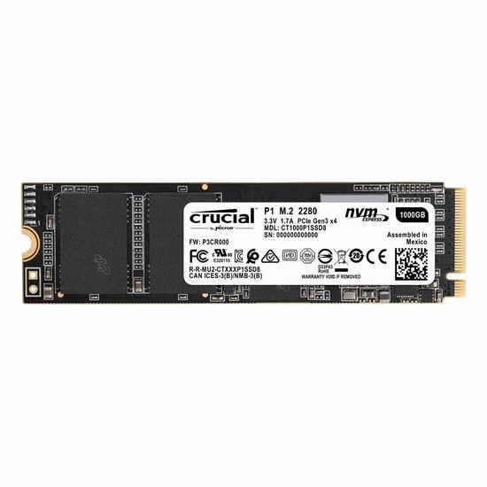 历史新低!Crucial 英睿达 P1 3D NAND NVMe PCIe M.2 1TB 固态硬盘 115.49加元包邮!