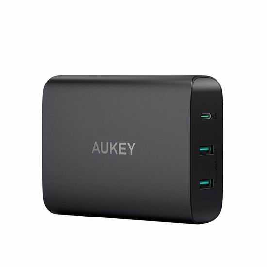 AUKEY 60瓦 USB-C + USB 3口智能快速USB充电器 39.99加元包邮!