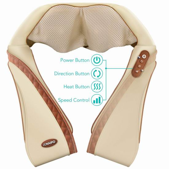 新款 Naipo 乳白色PU皮 红外加热 颈肩部深度按摩披肩 59.99加元包邮!
