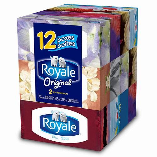 Royale 柔滑面巾纸/抽纸 100抽x12盒 6.41加元!