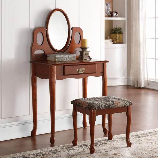 白菜价!历史新低!Q-Max SH1293 樱桃色 复古梳妆台桌椅两件套2.5折 97.54加元包邮!