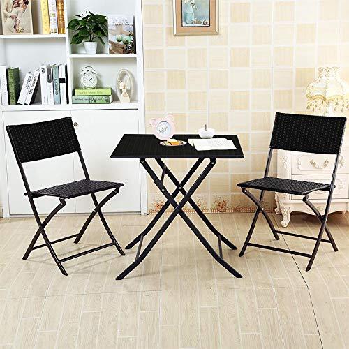 销量冠军!Soges OMN-FC-001-CA Bistro 仿藤条编织 室内/户外 可折叠桌椅3件套 159加元包邮!