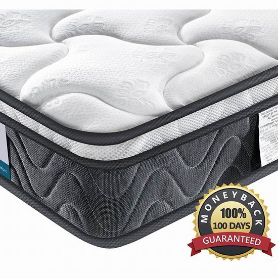 Inofia 8英寸 中等硬度 混合层舒适海绵+独立弹簧Twin/Twin XL床垫 142.2-175.12加元限量特卖并包邮!