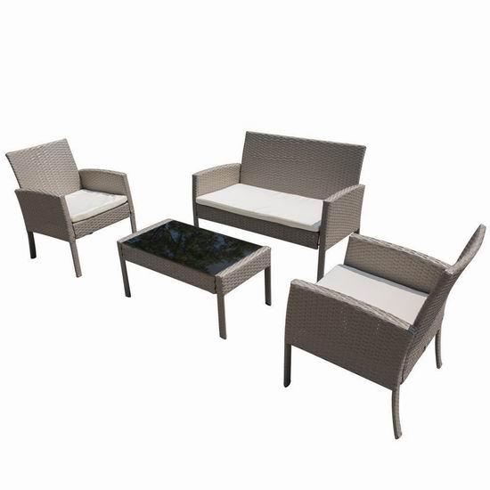 PatioPost 仿藤条编织 庭院软垫沙发+茶几4件套 289.99加元包邮!2色可选!