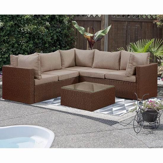 历史新低!Patioflare PF-CS321-BR Barcelona 仿藤条编织 庭院软垫沙发+茶几套装4.8折 655.87加元包邮!