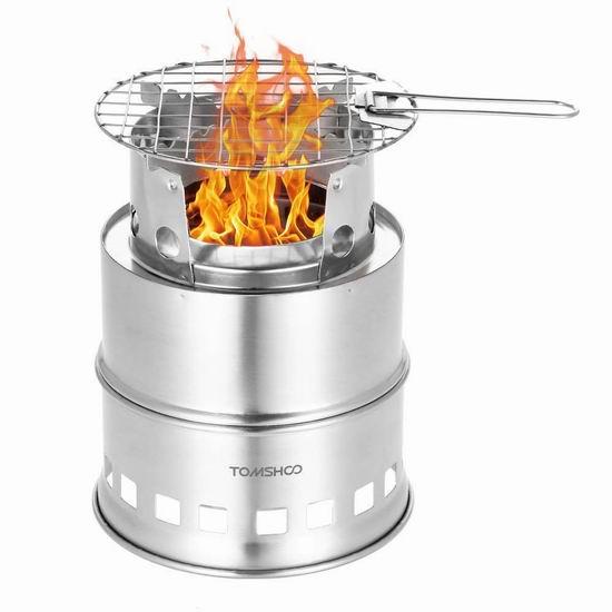 独家:TOMSHOO 升级版 烧烤烹饪二合一 不锈钢高效柴火炉 25.19加元包邮!