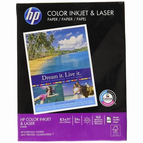 历史新低!HP 惠普 Everyday ColorPrinting24 打印复印多用途纸(400页)4折 6.06加元!
