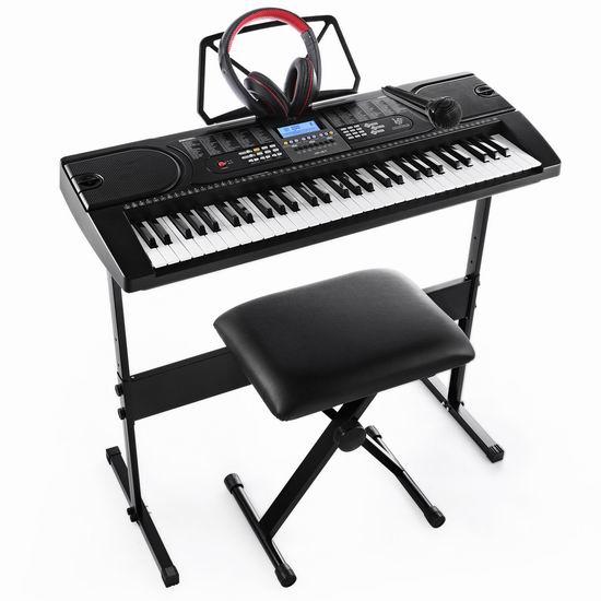 Joy JK-61-KIT 61键电子琴+琴架+琴凳+耳机+话筒套装 127.08加元包邮!