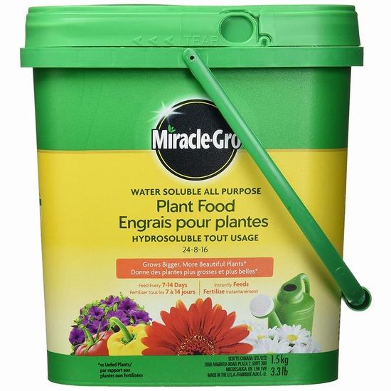 历史新低!Miracle-Gro 24-8-16 水溶性植物复合肥料(1.5公斤)5折 6.96加元!