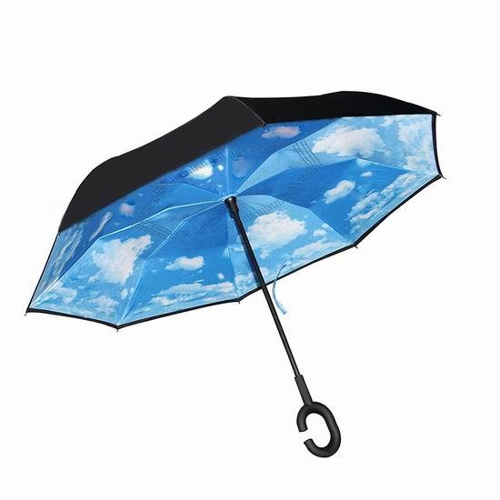 TREE.NB 双层抗风 防紫外线 创意雨伞/倒伞 14.99加元限量特卖!2色可选!