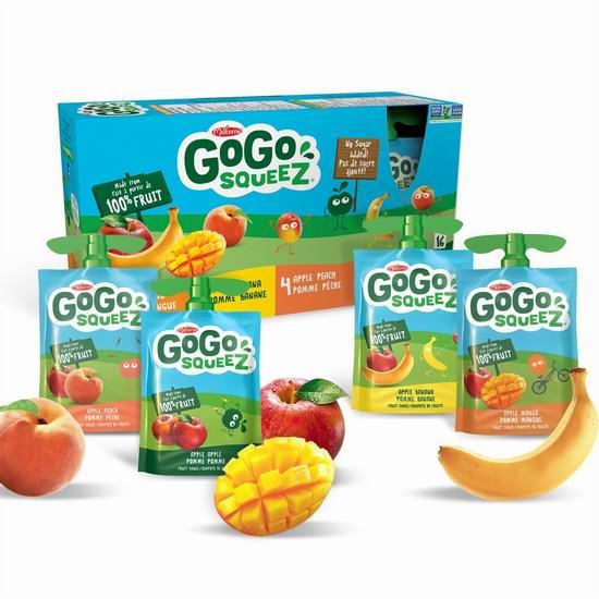 Go Go Squeez 梦果100%纯鲜果泥 16袋混合超值装7.9折 8.69加元!