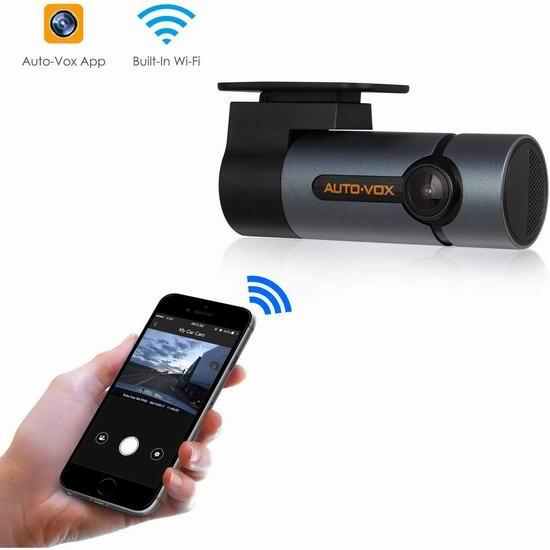升级专业版 AUTO-VOX D6 Pro WiFi 300°旋转 全高清超级夜视行车记录仪 69.99加元限量特卖并包邮!