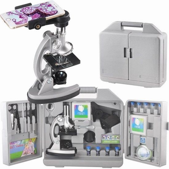 Gosky GOMC005 1200倍 学生显微镜+70附件套装 64.59加元限量特卖并包邮!