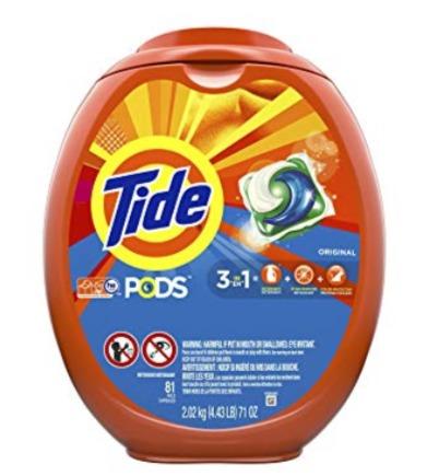 销量冠军!Tide 汰渍 3效合1 洗衣果冻81粒装 13.7加元,原价 21.99加元