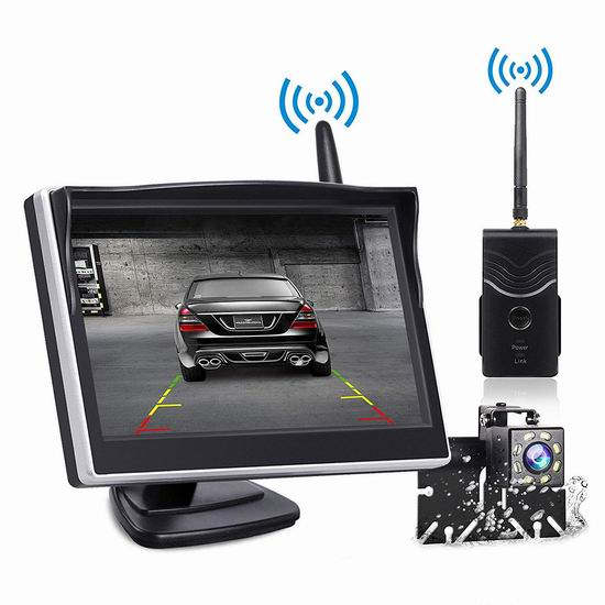 手慢无!TOGUARD 5英寸 无线高清夜视 倒车后视摄像头+显示屏套装2折 56.49加元限量特卖并包邮!安全倒车必备!
