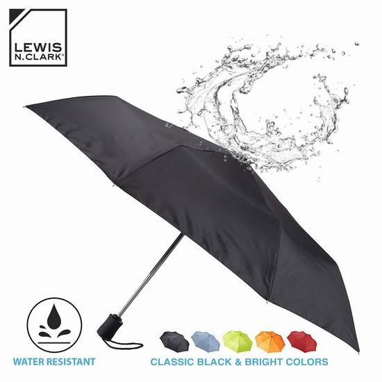历史新低!Lewis N Clark 413-Black-One 折叠式 防风自动雨伞6.7折 14.15加元!