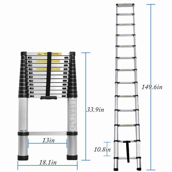 DlandHome JF-001 12.5英尺便携式轻质铝合金伸缩梯 101.8加元限量特卖并包邮!