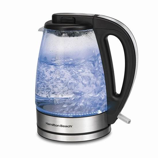 Hamilton Beach 40865C 1.7升蓝光玻璃电热水壶 36.97加元包邮!