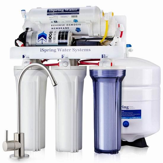 近史低价!iSpring RCC7P 5级反渗透 家用水过滤系统 359加元包邮!送价值45加元水龙头!