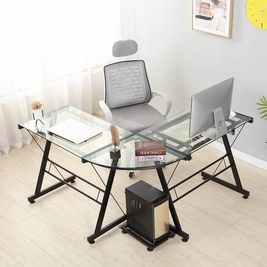 Soges L型钢化玻璃 时尚电脑桌/办公桌 125加元限量特卖并包邮!2色可选!