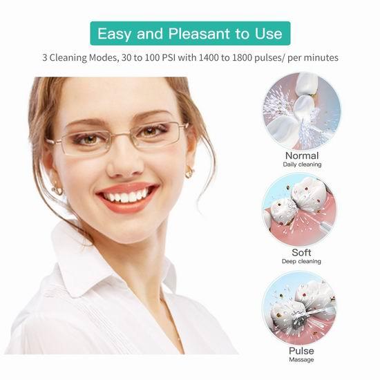 ABOX 200ml 充电式强力脉冲口腔冲牙器/水牙线 44.99加元包邮!