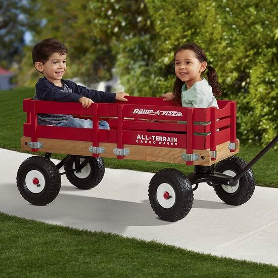 白菜价!历史新低!Radio Flyer All-Terrain 经典红色大号 全地形四轮儿童拖车2.2折 71.3加元包邮!